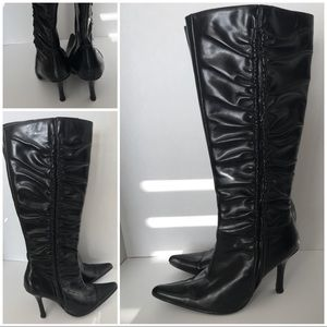 Shoes - Tall Black Rouched Side Pointed Toe High Heel Boot